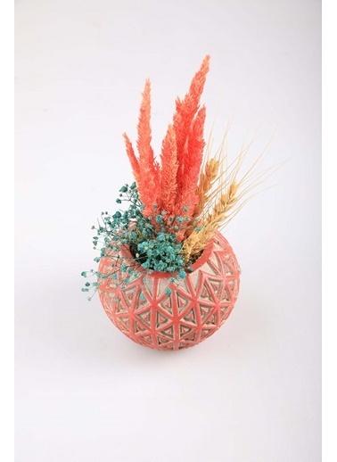 Kibrithane Çiçek Yapay Çiçek Beton Saksı Kuru Çiçek Aranjman Kc00200784 Renkli